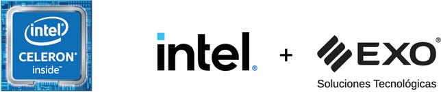 Logo Celeron Inside Intel y EXO Soluciones Tecnológicas